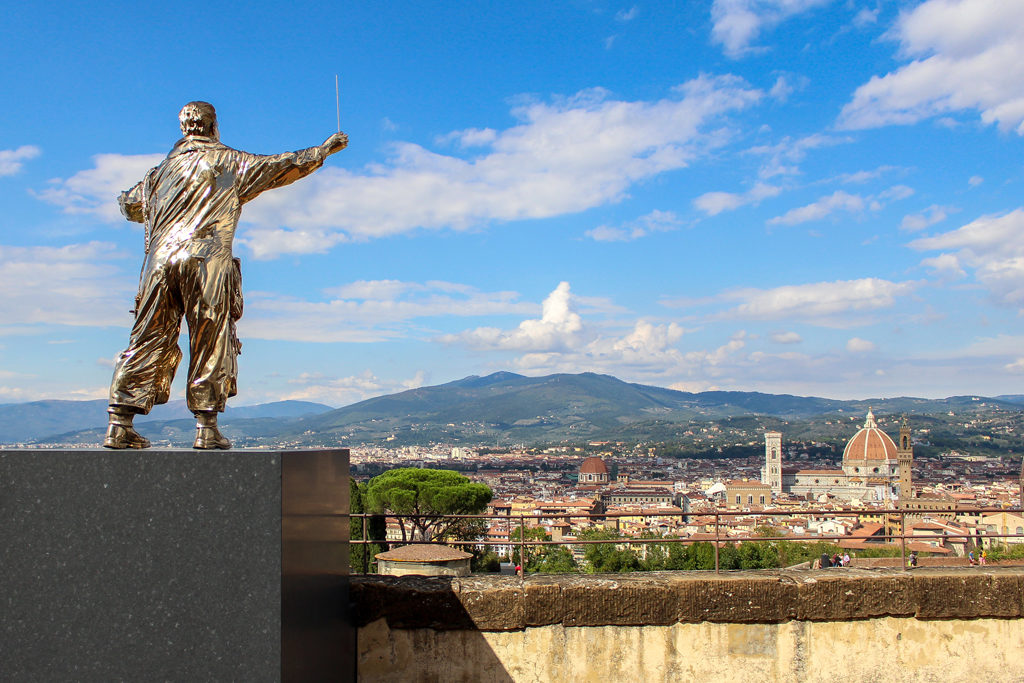 """Man Who Conducts the Clouds,"" a Jon Fabre art installation at Forte Belvedere in Florence, Italy."