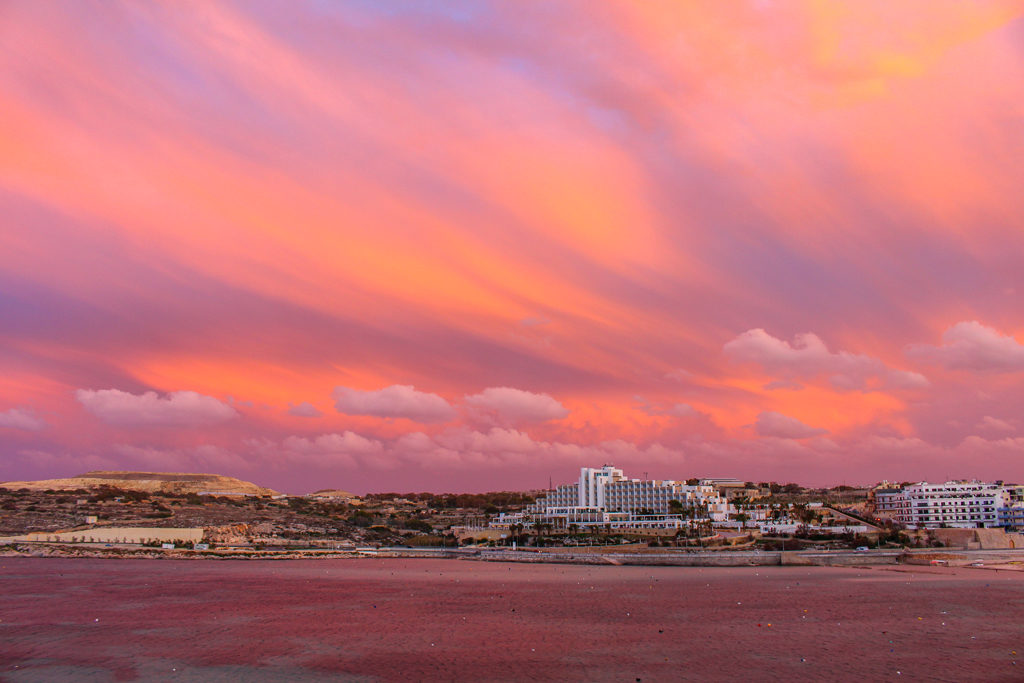 Our last sunset in Malta, viewed from our apartment.