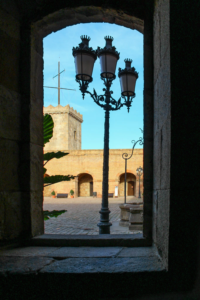 View through an archway in Barcelona, Spain.