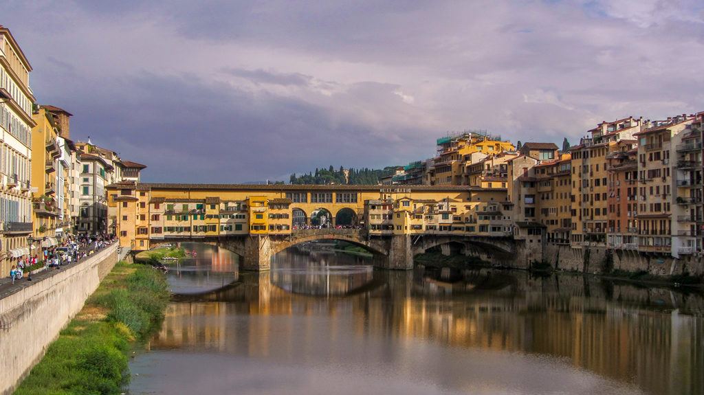 Ponte Vecchio at sunset, Florence, Italy.
