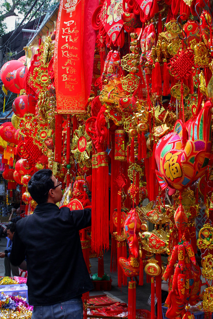 "The celebration of Chinese New Year, or ""tet,"" meant the streets were lined with red and gold decorations. It was beautiful."