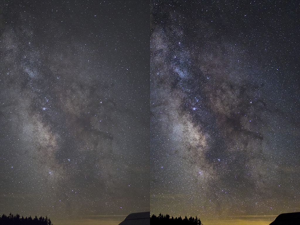 Before and after some post-processing on the Milky Way.