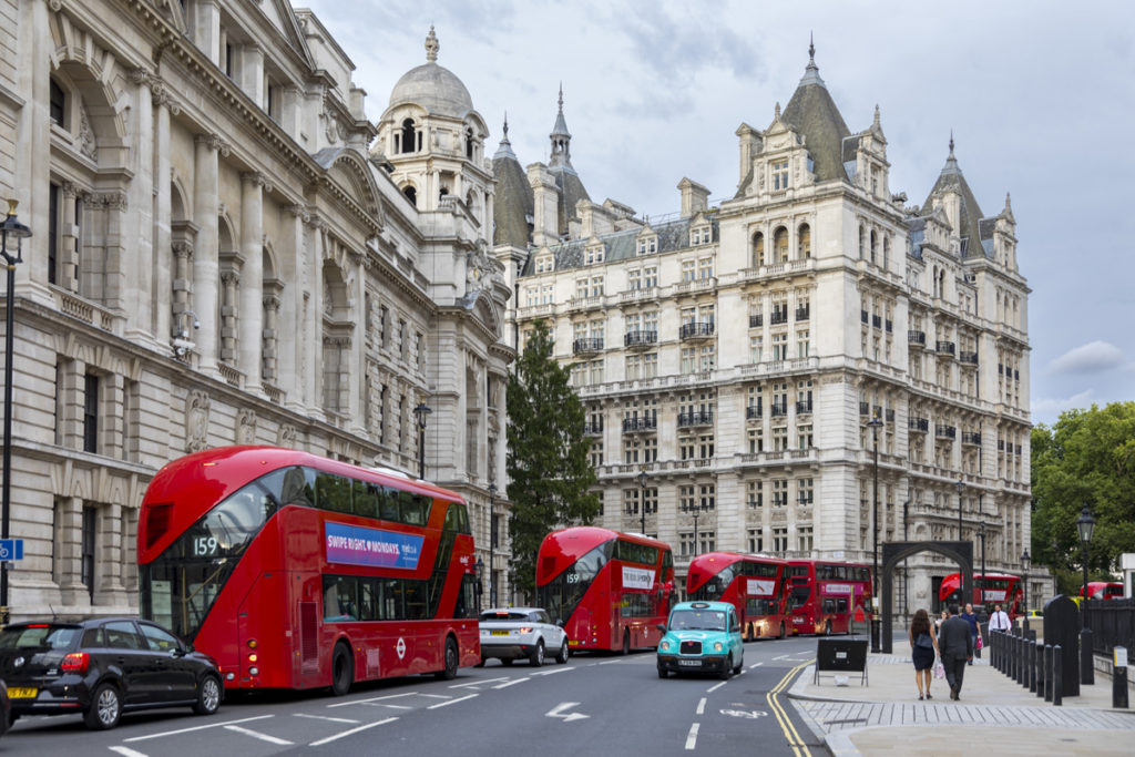 Red double deckers, London, England.
